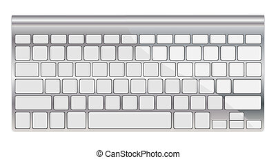 Modern aluminum computer keyboard isolated on white eps 10