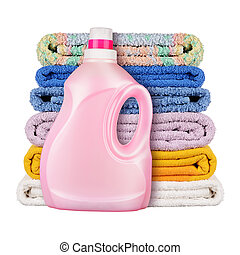 Detergent with towels isolated on white background
