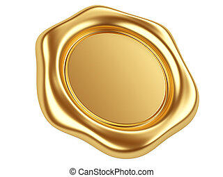 Gold seal - 3d illustration gold seal isolated on a white...