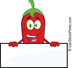 Red Chili Pepper Over Blank Sign - Smiling Red Chili Pepper...