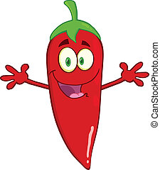 Red Chili Pepper With Open Arms - Smiling Red Chili Pepper...