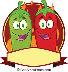 Mexican Chili Peppers Label - Mexican Chili Peppers Cartoon...