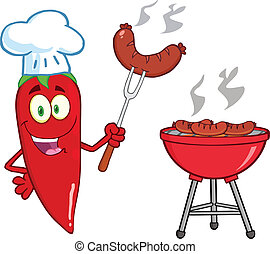 Cute Red Chili Pepper Chef With Sausage On Fork Cook At...