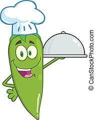 Green Chili Pepper Chef - Cute Green Chili Pepper Chef...