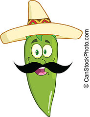 Green Chili Pepper With Mustache - Smiling Green Chili...