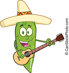 Green Chili Pepper With Mexican Hat - Green Chili Pepper...