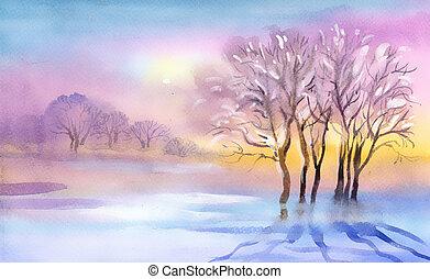 Landscape Watercolor landscape Winter Collection