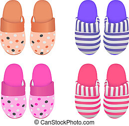 slipperws - Vector set of four slippers, Eps 8 Vector,...