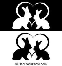 Monochrome silhouette of two rabbits and a heart. Vector-art...
