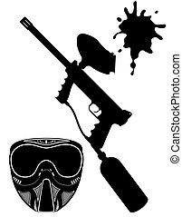 paintball set black silhouette vector illustration isolated...