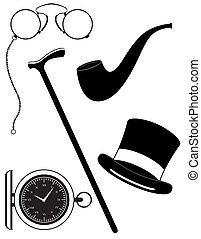 retro mens accessories 19th century black silhouette vector...