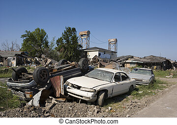 Ninth Ward pile of cars 4366 - The flooding caused by...