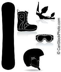 set icons equipment for snowboarding black silhouette vector...
