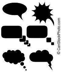 set icons speech bubbles dreams black silhouette vector illustration isolated on white background