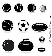set icons sport balls black silhouette vector illustration...
