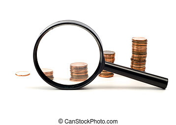 Examining investments - Concept image of examining...