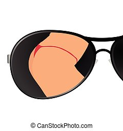 sunglass with girl art vector illustration
