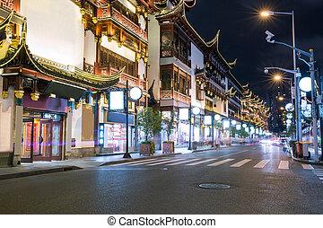 shanghai cityscape at night, yuyuan garden in shanghai