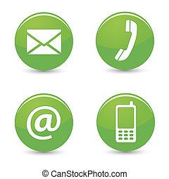 contacto, nosotros, tela, verde, botones, iconos