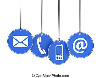 tela, contacto, nosotros, iconos, en, azul, etiquetas