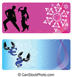 flamenco couple and sign of the money on a christmas card vector