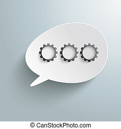 White Bevel Speech Bubble Three Black Gears PiAd