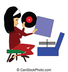 young girl with record player - girl in room playing records...