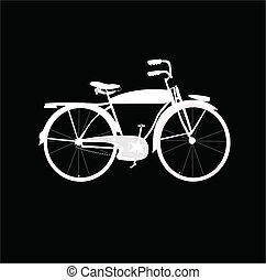 white bike over black - white silhouette of bicycle over...