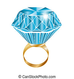 Shiny diamond ring, vector illustration