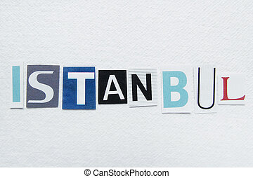 word istanbul cut from newspaper on handmade paper