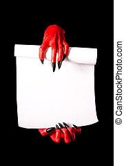 vermelho, diabo, mãos, segurando, papel, Scroll