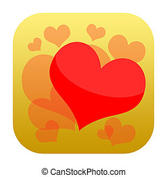 Loving heart icon - Romantic icon with hearts falling in...