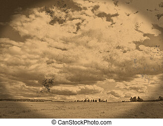 Vintage landscape - Old retro landscape made from my own...