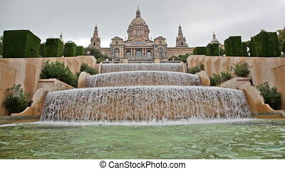 fountain on Placa De Espanya, before National Museum in...