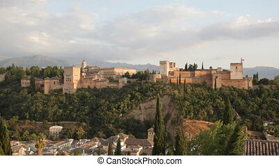 View of Alkhambrs fortress on a sunset, Granada, Spain