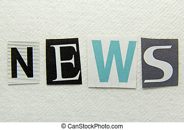 news word cut from newspaper on handmade paper background