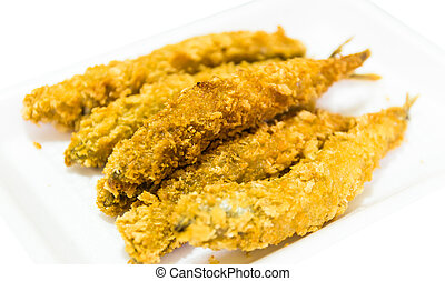 fried fish isolated on white background