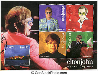 MALTA - CIRCA 2003: A stamp printed in Malta shows Elton...