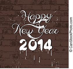 Happy new year 2014 on wall retro