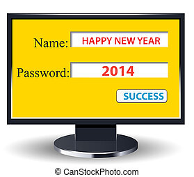 happy new year 2014 retro with computer username and...
