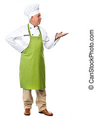 Chef inviting in restaurant. Isolated over white background