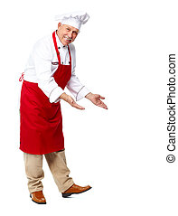 Chef inviting at restaurant. Isolated over white background
