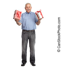 Senior man with gift isolated white background.