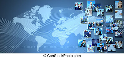 Business collage background. Media and communication...
