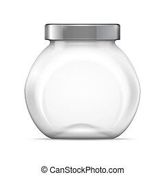 Empty glass jar - Empty glass transparent jar with gray cap...