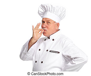 Chef - Elderly professional chef man. Isolated over white...
