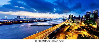 跨線橋, 夕闇, 都市, 現代, パノラマである, ハイウェー, 光景