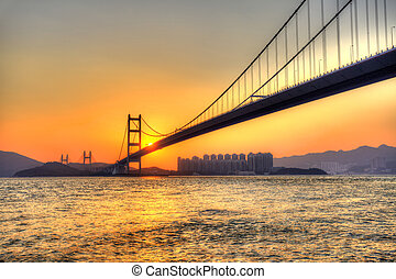 Bridge at sunset in Hong Kong