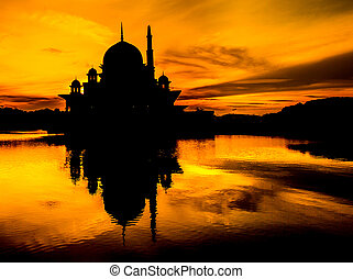 Mosque Silhouete, Malaysia - The Putra Mosque silhouette, in...