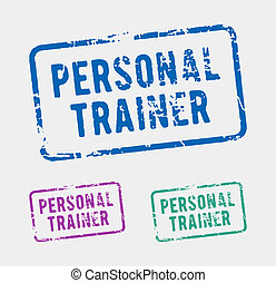 Personal trainer rubber stamp - Three rubber stamps with the...